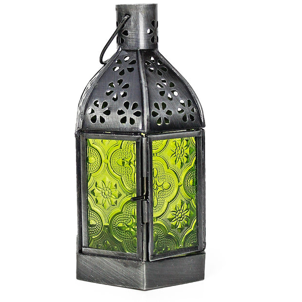 Green Moroccan Glass Lantern w/Chain