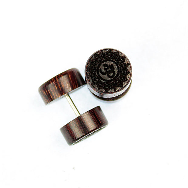 AUM Mandala Wood Faux Plug Earrings