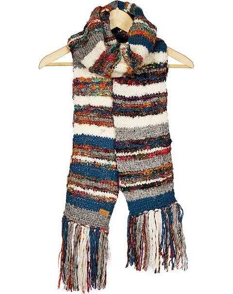 Teal & White Swool Stripe Scarf