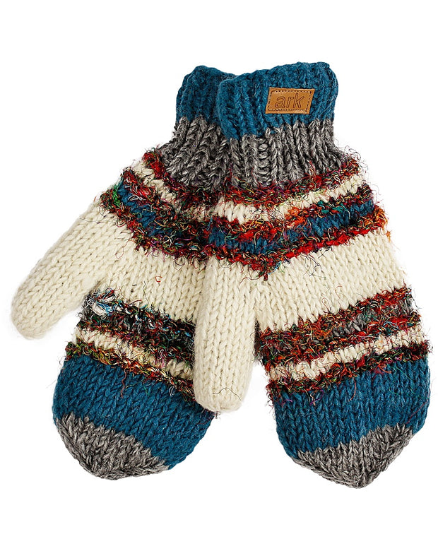 Teal & White Swool Stripe Mittens