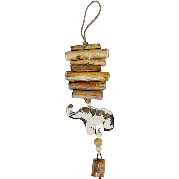 Elephants Vintage Driftwood Bell Chimes