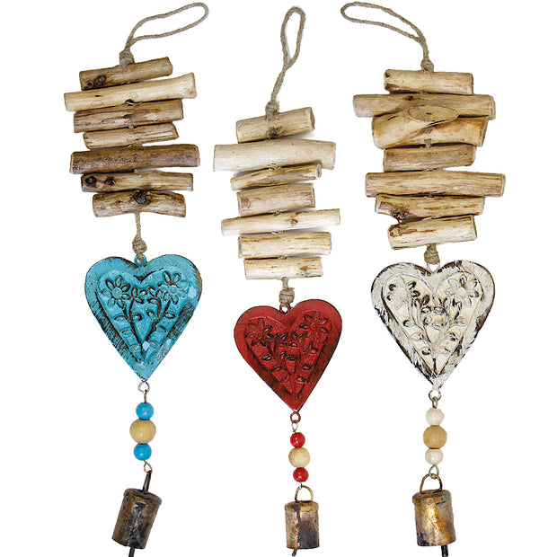 Heart Vintage Driftwood Bell Chimes