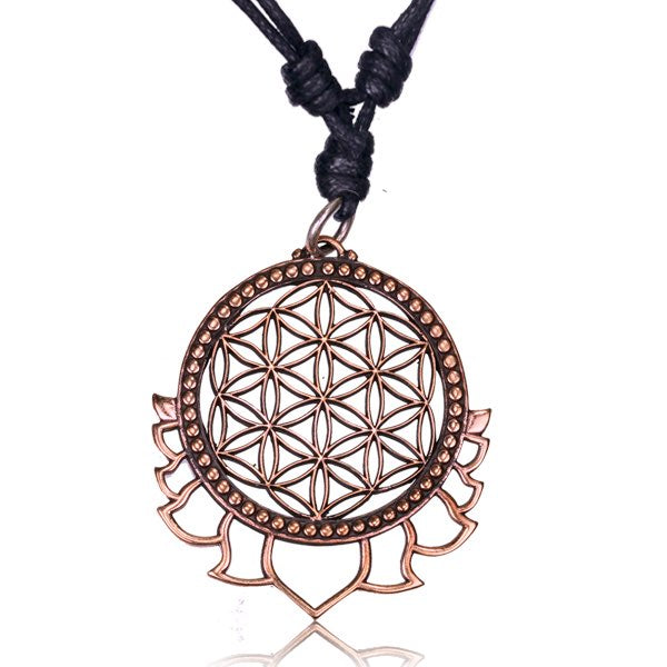 Rose Bronze Flower of Life Pendant Necklace