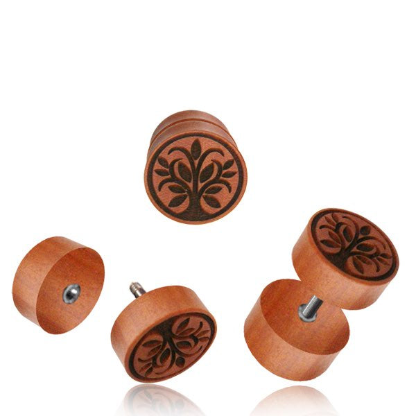 Sawo Wood Tree of Life Faux Plug Earrings