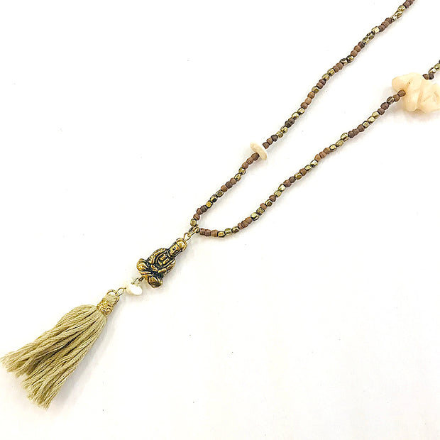 Natural Elephant & Tassel Mala