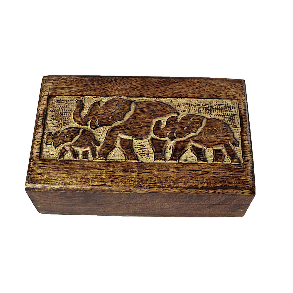 Elephant Family Mango Wood Rectangular Box