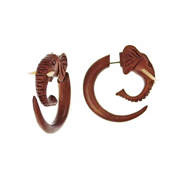 Elephant Faux Gauge Earrings