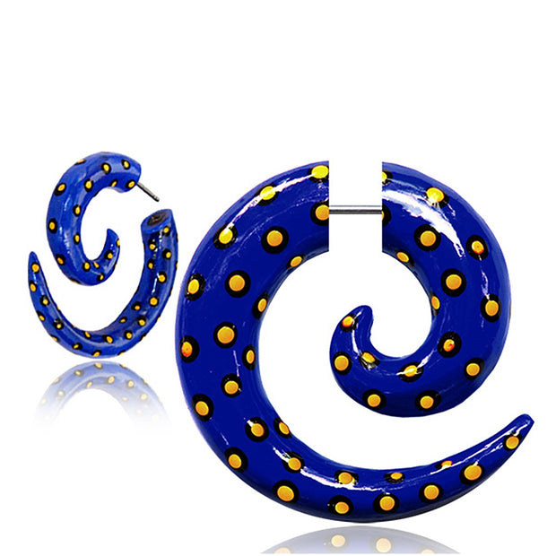 Blue Dots Faux Gauge Earrings