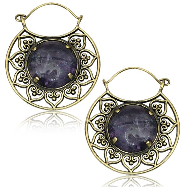 Amethyst Tribal Brass Earrings
