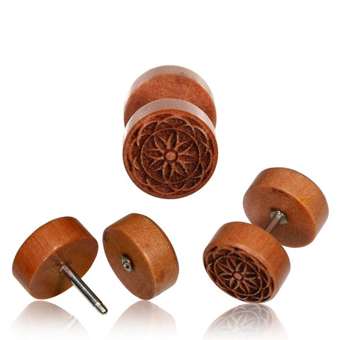 Flower Mandala Wood Faux Plug Earrings