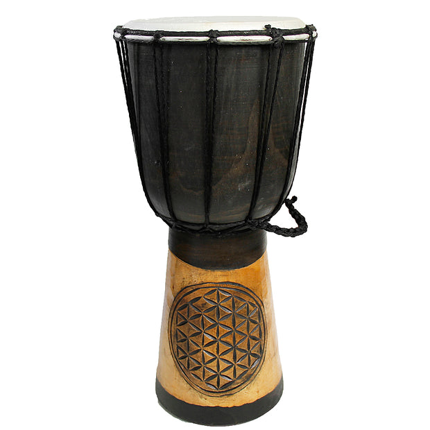 Flower of Life Carved Djembe 40cm