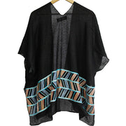 Black Abstract Embroidery Kimono