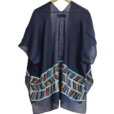 Navy Abstract Embroidery Kimono