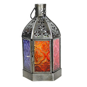 Rainbow Moroccan Glass Lantern w/Chain
