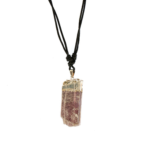 Calming Lepidolite Slice Pendant Necklace