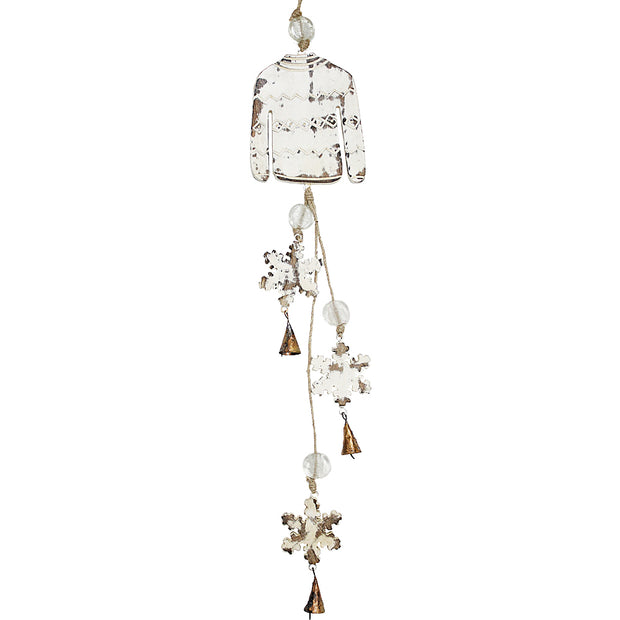 Sweater & Snowflakes Indoor/Outdoor Mango Wood Bell Chimes