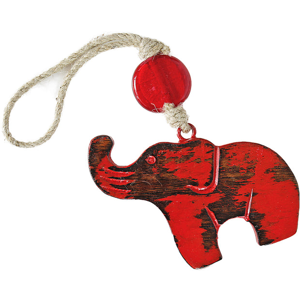 Lucky Elephant Indoor/Outdoor Mango Wood Ornament