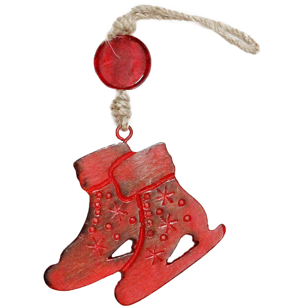 Skates Indoor/Outdoor Mango Wood Ornament