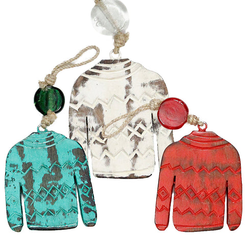 Sweater Indoor/Outdoor Mango Wood Ornament
