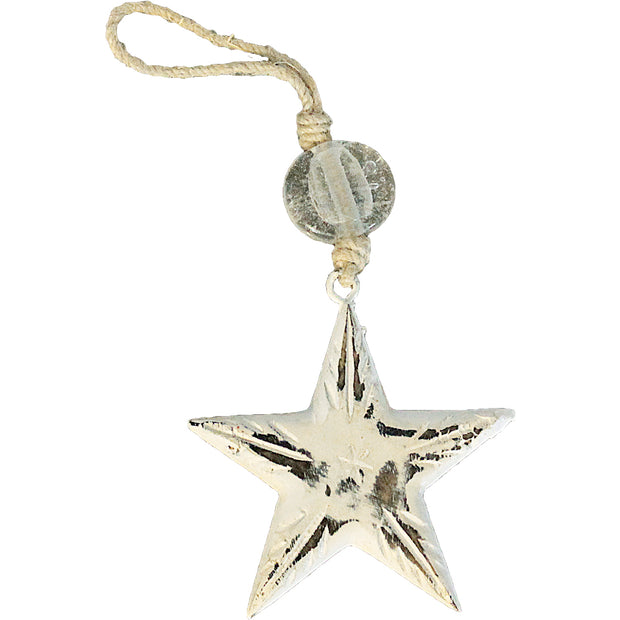 Vintage Star Indoor/Outdoor Mango Wood Ornament