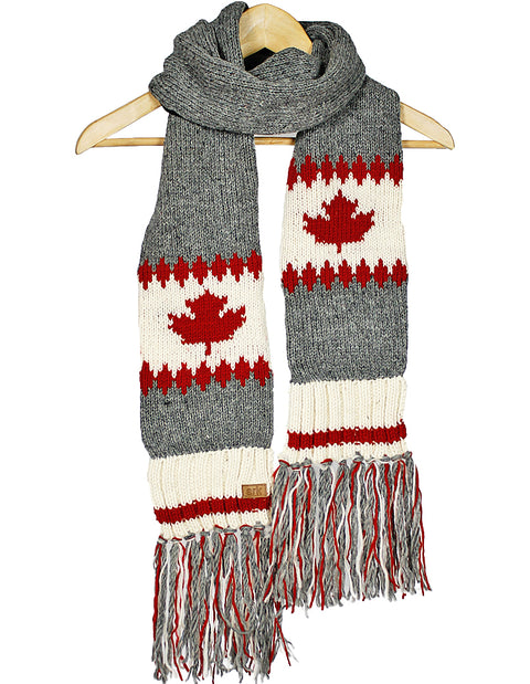 Maple Leaf Zig Zag Wool Scarf
