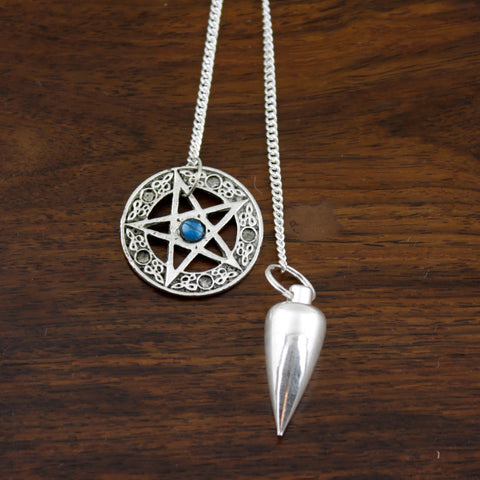 Pentacle & Stone Nickle Pendulum