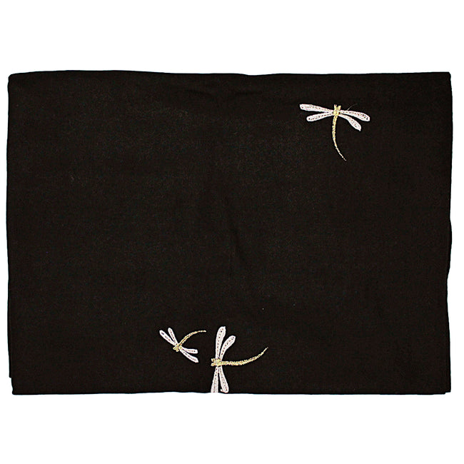Black Dragonfly Embroidered Pashmina Scarf