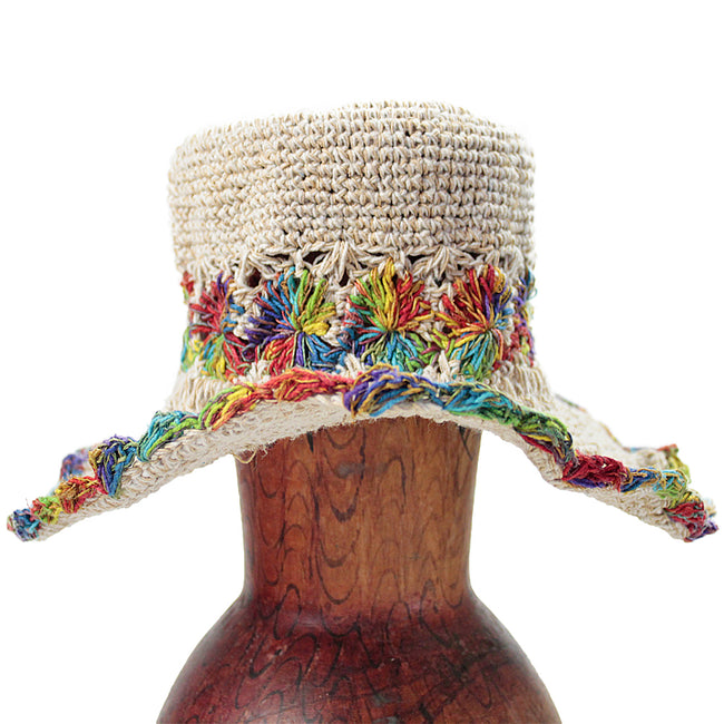 Rainbow Band Hemp Wire Rim Hat