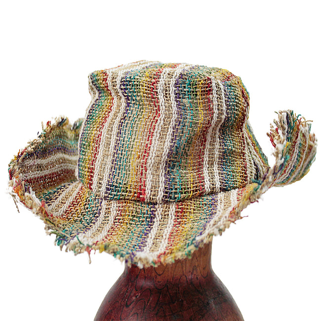 Rainbow Stripe Fringe Hemp Wire Rim Hat