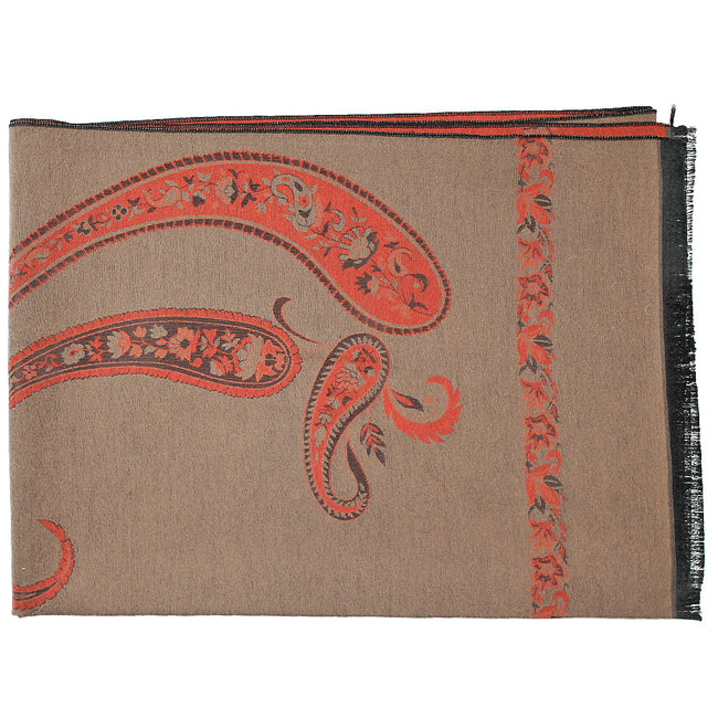Brown Paisley Print Reversible Pashmina