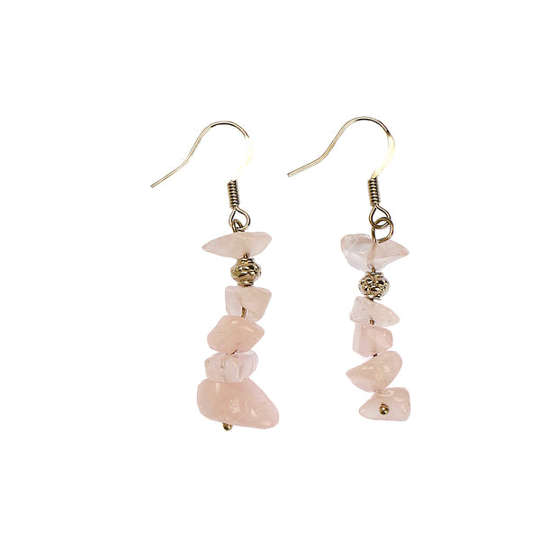 Rose Quartz Chip Stone Earrings