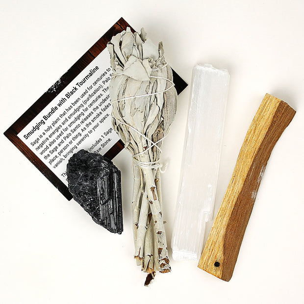 Tourmaline~Selenite~ Palo Santo~Sage Smudge Kit