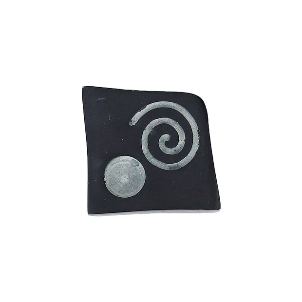 Abstract Rectangle & Spiral Soapstone Cone Incense Burner