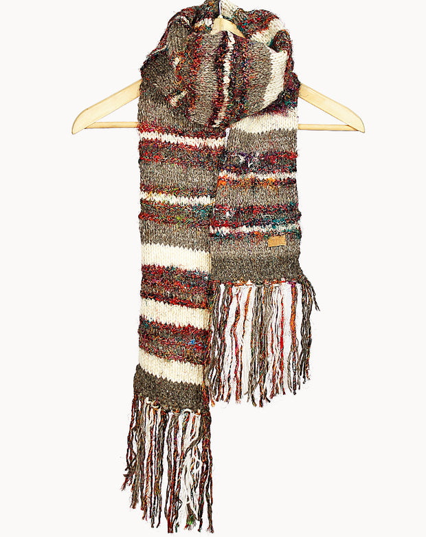 Natural Swool Stripe Scarf
