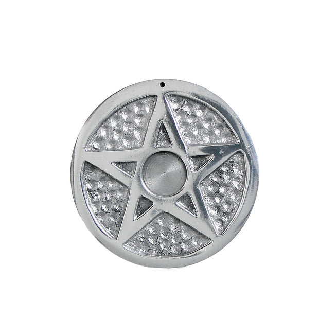 White Metal Pentacle Incense Stick & Cone Holder