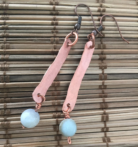 Copper & Amozonite Earrings I