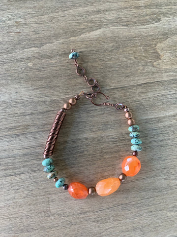 Carnelian & African Turquoise embraced in Copper