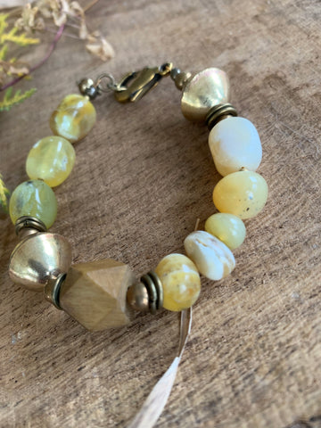 Organic plant dyed wood meets yellow opals