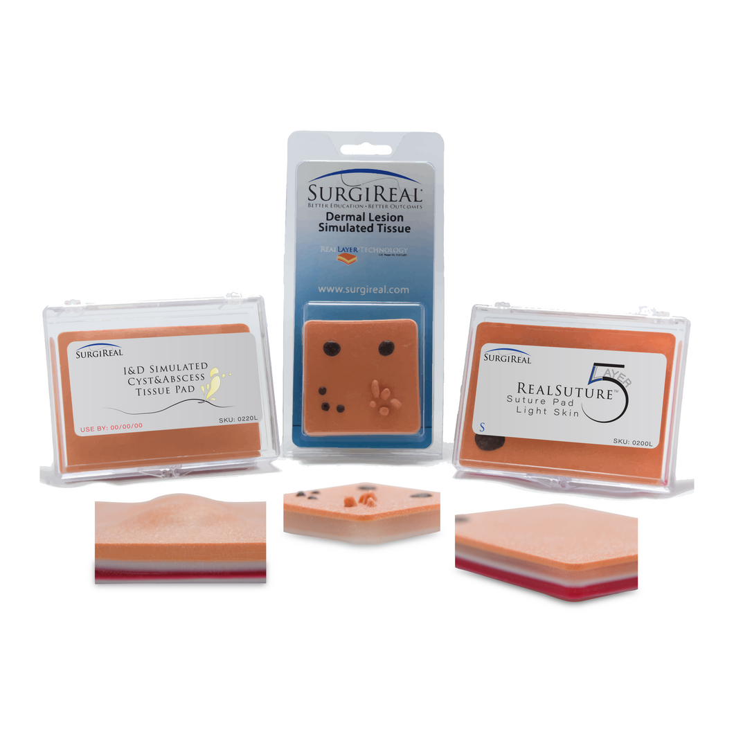 Product Bundle: I&D Suture Pad & Small RealSuture 5-Layer Suture Pad & Dermal Lesion Suture Pad