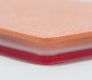 SurgiReal's 5-Layer Suture Pad is designed to mimic the first 5 layers of the abdominal wall. The layers replicate the Epidermis, Subcutaneous, first Fascia layer, Muscle, and second Fascia layer. Each layer is uniquely formulated to replicate its respective real-life tissue layer, making it the most realistic model on the market.