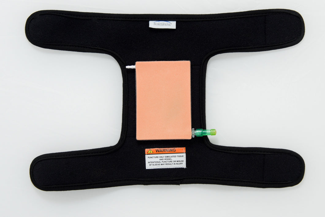 Wearable simulated IV and blood draw trainer with puncture resistant material to make it safe for all participants sold by SurgiReal. Great for phlebotomy training!