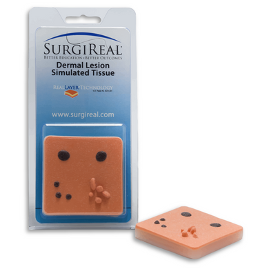 Dermal Lesion Simulated Tissue Pad from SurgiReal includes a number of mole and skin tags for students to practice removing and suturing the skin after removal