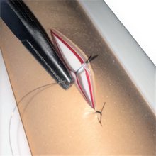 Load image into Gallery viewer, Suture Pattern on a Suture Pad for a Rat or Mouse on a SurgiReal Tensioning Base - SurgiReal - Veterinary Education - Lab Animal Research