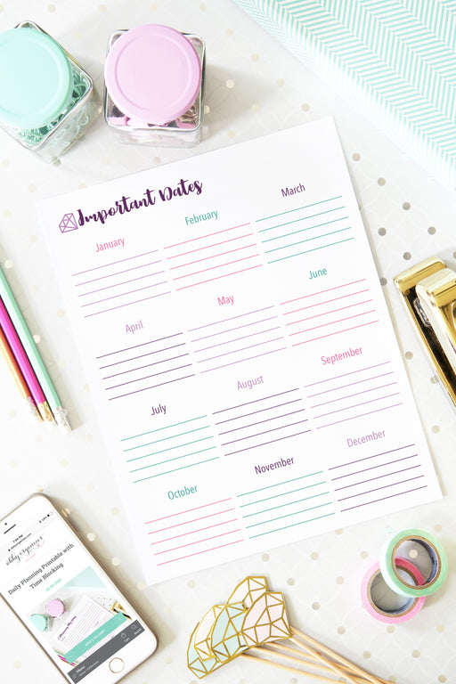 Birthday and Anniversary List Printable, organizing printables, home binder, #printables #organizing
