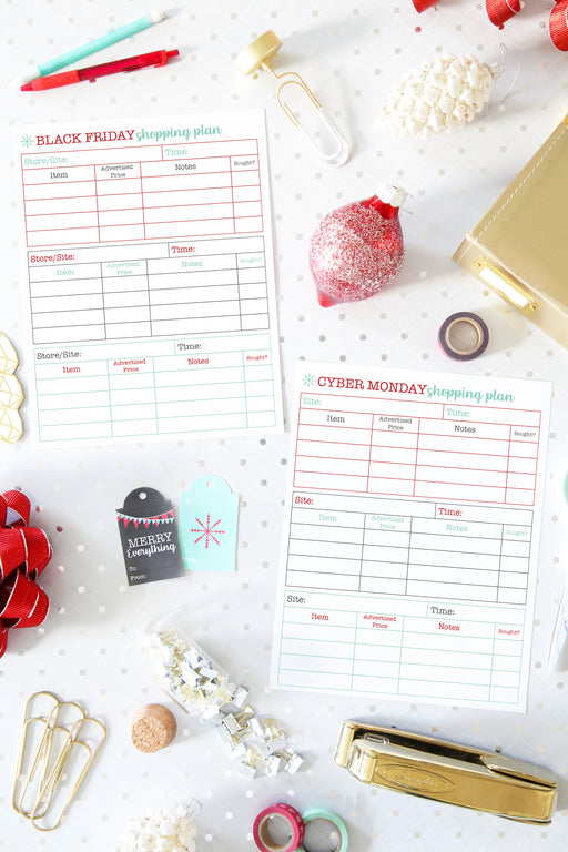 Black Friday Shopping Plan, Cyber Monday Shopping Plan, and Shopping List, organizing printables, Christmas Planner, Holiday Planner, #printables #organizing