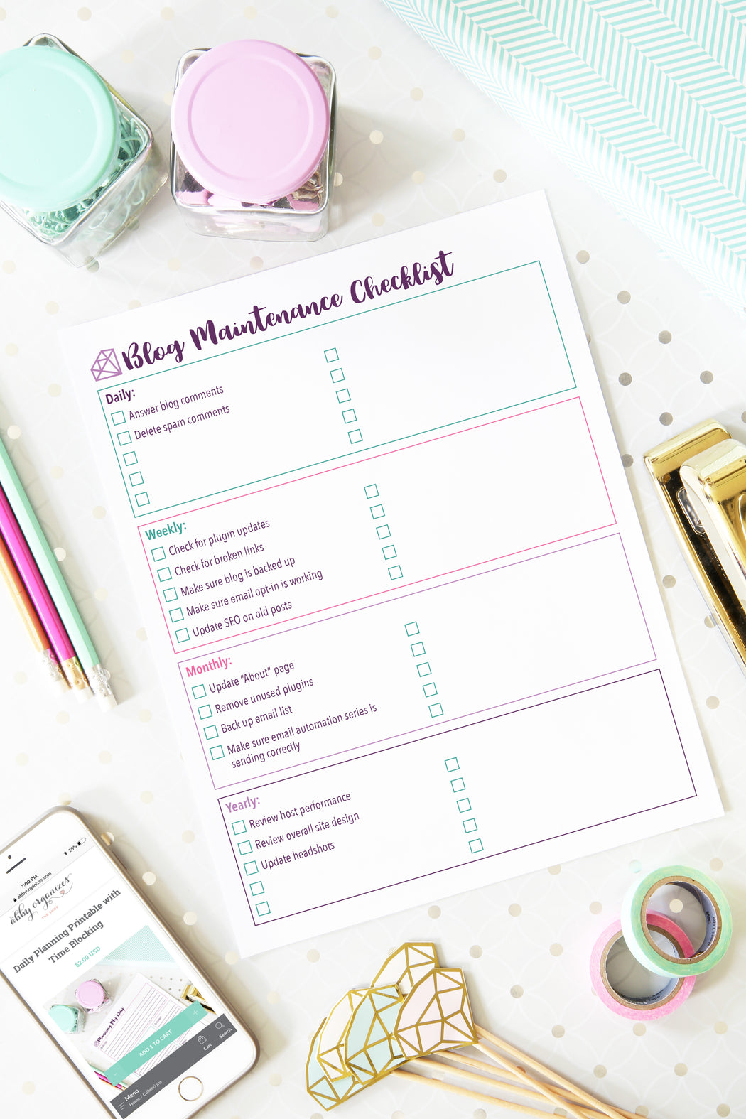 Blog Maintenance Checklist Printables, organizing printables, blogging binder, #printables #organizing