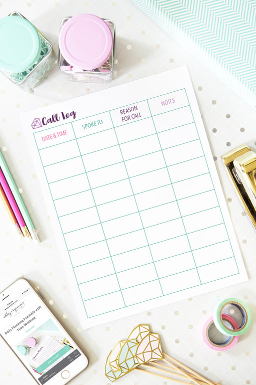 Call Log Printable, organizing printables, home binder, #printables #organizing
