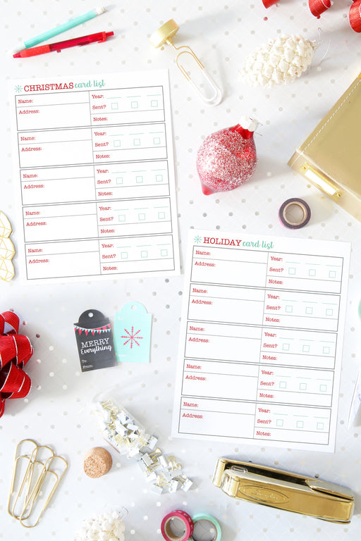 Christmas Card List Printable / Holiday Card List Printable, organizing printables, Christmas Planner, Holiday Planner, #printables #organizing
