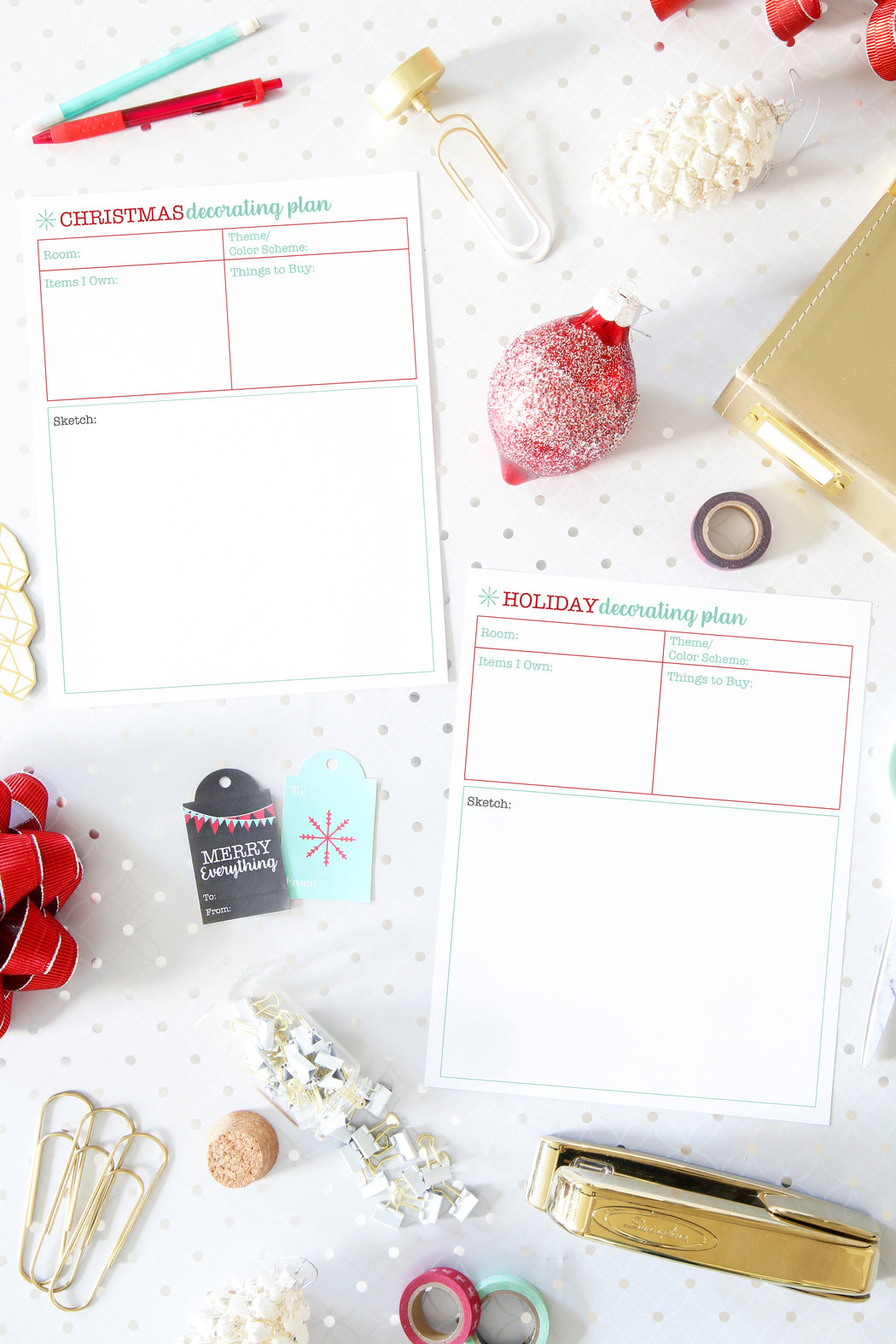 Christmas Decor Plan / Holiday Decor Plan, organizing printables, Christmas Planner, Holiday Planner, #printables #organizing