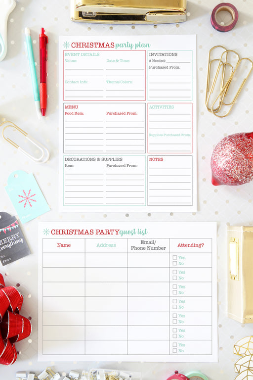 Christmas Party Planning and Guest List Printables / Holiday Party Planning and Guest List Printables, organizing printables, Christmas Planner, Holiday Planner, #printables #organizing